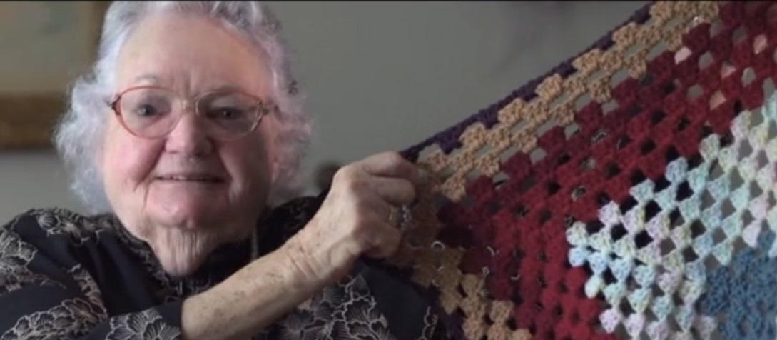 Joyce showing crochet work
